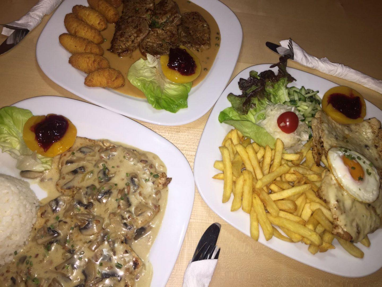 Champignonrahmschnitzel, Pfefferrahmschnitzel, Holsteinschnitzel