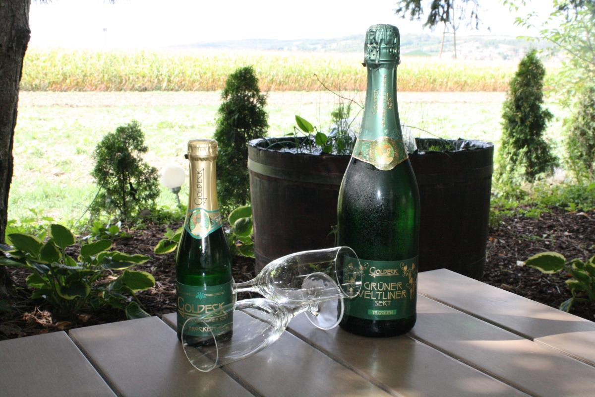 Sektflaschen mit 2 Gläsern